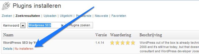 Wordpress SEO plugin installeren