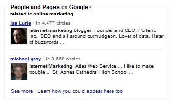Google+ profielen zoekresultaten