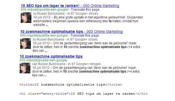 Google die titels veranderd seo