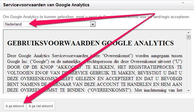 Servicevoorwaarden Google Analytics