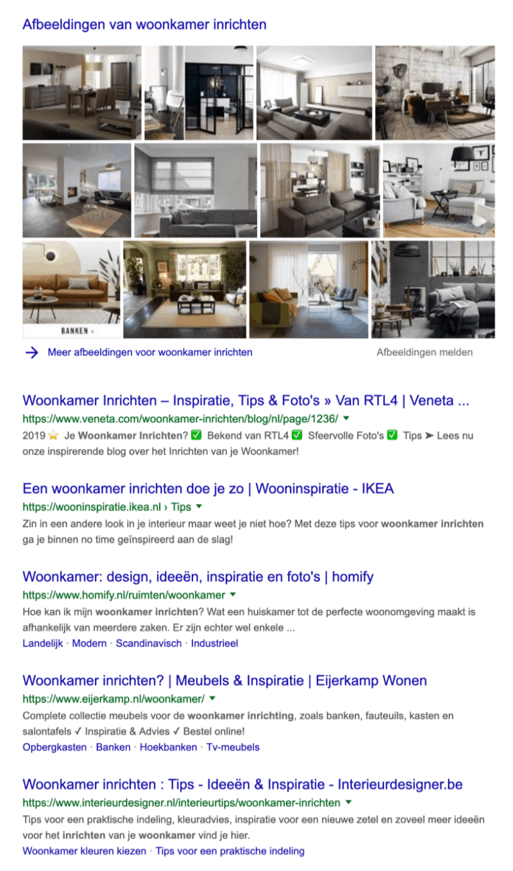 Zoekintentie in de zoekresultaten