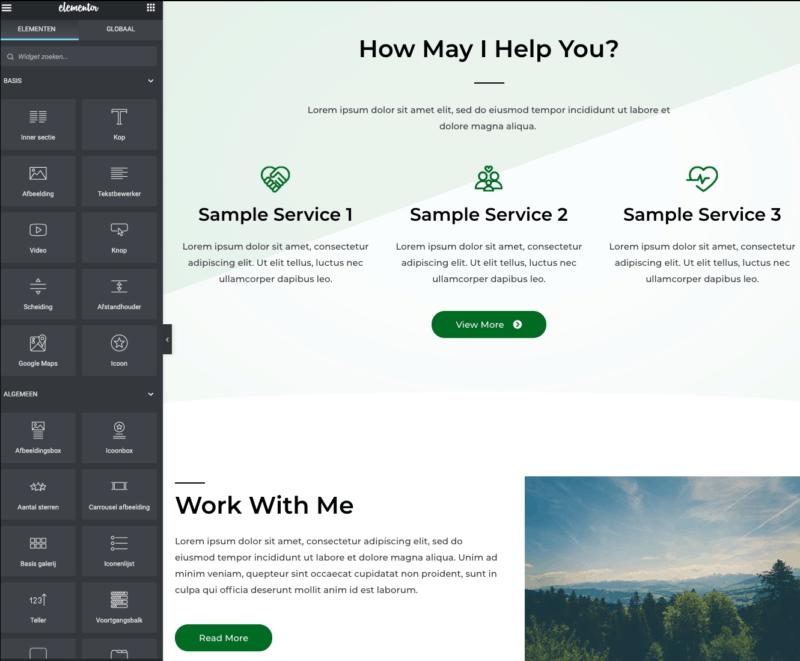 Website bouwer Elementor