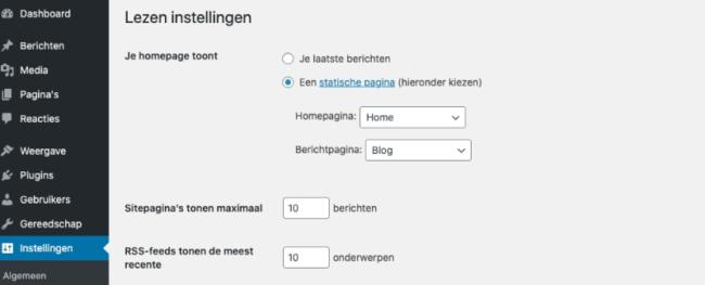 Homepage instellingen
