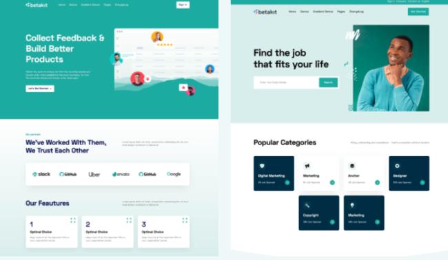 Website design van het thema Betakit